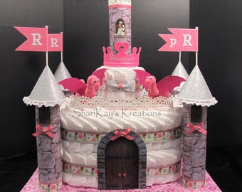 Diaper Cake, DEPOSIT ONLY, Prince or Princess Castle, Custom Made - Baby Shower - Centerpiece, Gift