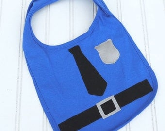 READY TO SHIP Police Officer Cop 100% cotton bib for baby and toddlers