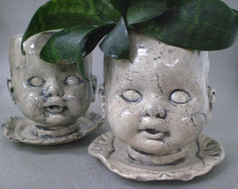 White Doll Head Planter - cone 5 planter for potted plants, indoor or outdoor