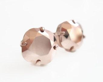 Rose gold stud earrings - crystal earrings - Swarovski earrings - rose gold earrings - rose gold jewelry