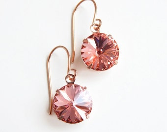 peach crystal and rose gold earrings - designed with Swarovski® crystals