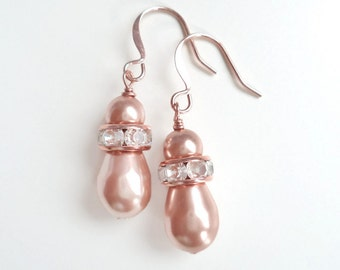 Blush pearl rose gold earrings - bridesmaid earrings - bridal earrings - pearl earrings - Swarovski