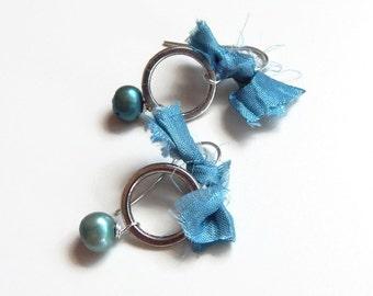 Blue pearl and sari ribbon earrings