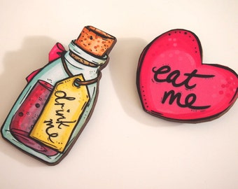 Drink Me Bottle and Eat Me Heart Alice in Wonderland Laser Cut Wood Brooch Pair