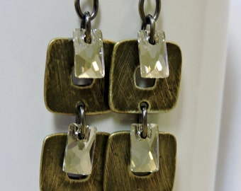 Swarovski Crystal and Antique Brass Square Earrings