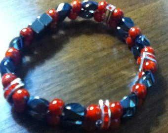 Red Rhinestone and Black Magnetic Hematite Double Bracelet