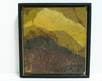 Vintage 1968 Ray Ho Scenic Mountain Collage Painting Mid Century Listed Artist