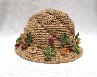 Crochet Hat with Strawberry Ribbon - Genuine Natural Madagascar Raffia / Straw Sun Hat For Toddler Girl