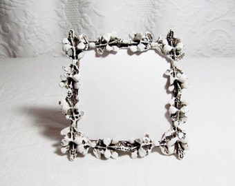 Gresco Picture Picture FrameWhite Enamel Cast Metal Floral Garland Square 3 1/2""