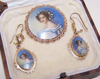 Vintage 14K Gold and Hand Painted Portrait Set - Pendant/Pin/Brooch & Earrings