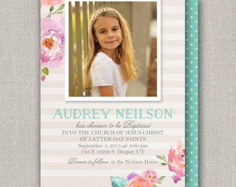 LDS Baptism Invitation - Audrey