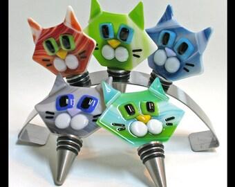 Glassworks Northwest - Cat Bottle Stopper - Fused Glass Art