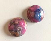 Polymer Clay Handmade Cabochons - Mokume Gane Round - Set 2 pieces
