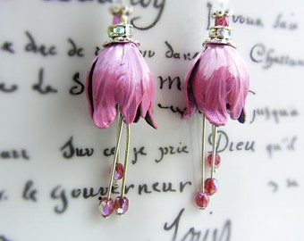Ombre Pink patina tulip earrings - brass tulips flower boho jewelry