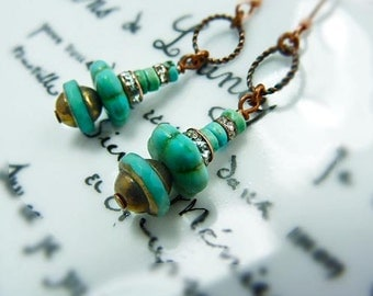 Bohemian Turquoise Dangle earrings - crystal turquoise drops