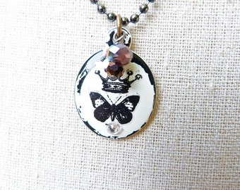 Crown Butterfly vintage shabby chic enamel necklace