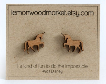 Unicorn Earrings - alder laser cut wood earrings