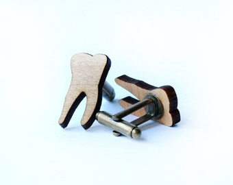 Molar tooth cufflinks and tie tack/lapel pin set