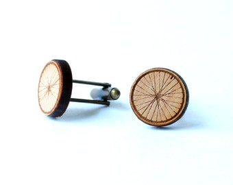 Bicycle cufflinks and tie tack/lapel pin set - Bike wheel and bicycle