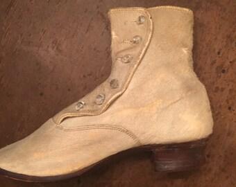 Beautiful Antique Victorian fur childrens boot shoe