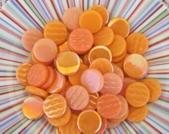Orange Mix Round Flat Gems Circle Glass Tiles For Mosaics Jewelry Orange Mix Glass Gems For Mosaics Jewelry or Crafts 16-18mm Round