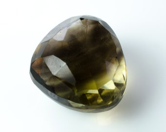 Smoky Lemon Quartz Faceted Heart or Drop Briolette