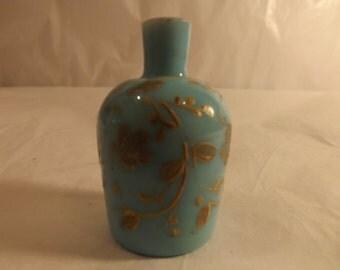FREE SHIPPING rare vintage glass bottle blue smalls miniatures (Vault 15)