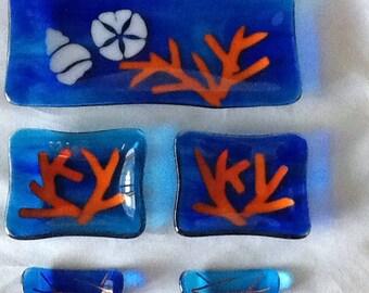 Beachy Fused Glass Sushi Set