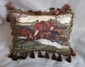 FOXHUNTING Horse Pillow Quality Cotton Fabric with Burgundy/Green Tassel Trim....Beautifully Handmade