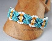 Aqua Daisy Micro Macrame Bracelet Summer Flowers Floral
