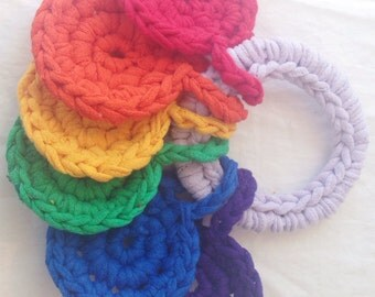 handheld rainbow, crocheted t-shirt yarn key ring toy for baby made from upcycled t-shirts by yourmomdesigns(rts)