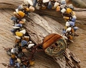 AZTEC SIGNS - Handmade Ceramic Button, Semi-Precious Agate Chips, Glass Seed Bead Bracelet