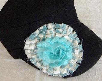 Black Military Cadet Cap with  Green and Natural Design with Turquoise Silky Center