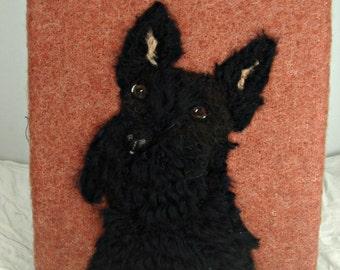 Scottish Terrier, Needle Felt Portrait, Dog Portrait, Needle felt dog, Scottie Dog, Fiber Art