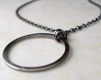 Sterling Silver Circle Pendant. Wheel Necklace. Unique Rustic Hoop. Handmade Aroluna