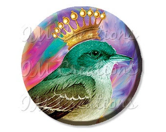 """Pocket Mirror, Magnet or Pinback Button - Wedding Favors, Party themes - 2.25""""- Crowned Bird MR141"""