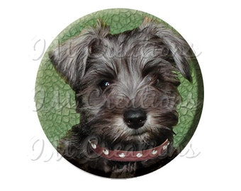"Pocket Mirror, Magnet or Pinback Button - Wedding Favors, Party themes - 2.25""- Sweet Schnauzer MR398"