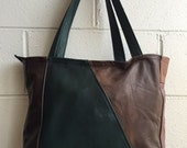 Patchwork all leather big handbag - made in Montreal, Canada
