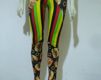 Rastafarian / Burger & Onion Rings Leggings