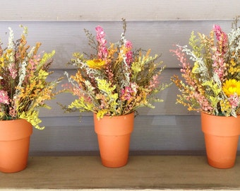 Dried flower arrangement for your fall or summer wedding centerpiece. Custom made in your colors.  Made in clay pot, nice for gargen wedding