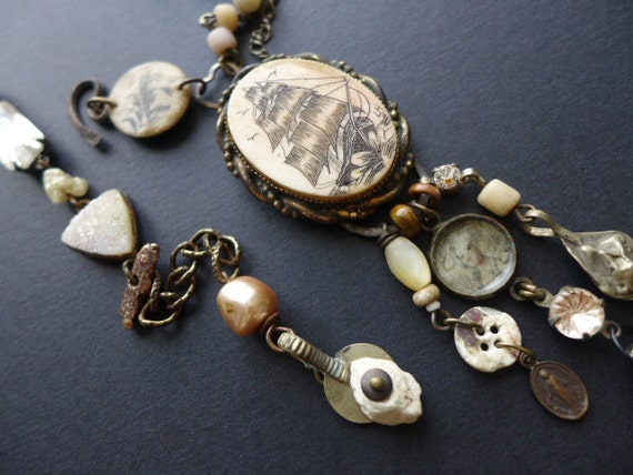 Promise to Wait for Me. Rustic assemblage victorian tribal necklace.