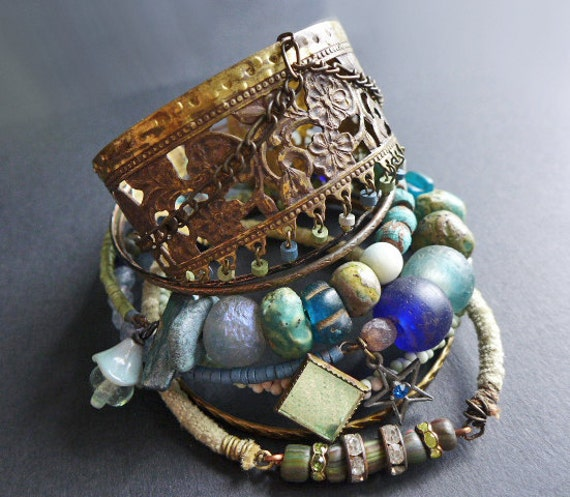 Oceanic 1. Bangle stack. Rustic tribal gypsy bracelet set with cuff in blues and greens.