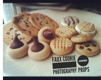 Cookie jar fillers assorted fake cookies hand crafted polymer clay fake food for home kitchen office decor 12pieces