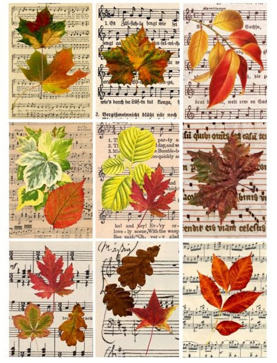 "leaves sheet music collage sheet printable art 2 3/8"" x 3 3/8 inch images digital download scrapbooking tags cards jewelry holders"
