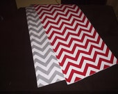 Red and Gray Reversible Chevron Table Runner