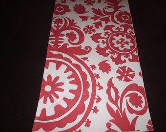 Coral and White Suzani Table Runner