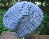 Cotton Slouchy Beanie Hat Hipster Style Knit Eyelet Seamless Pastel Blue Cap Handmade Pima Cotton Knit Textilesone Adult Size Ready to Ship