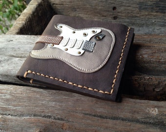 Men Wallet  Stratocaster Guitar & Pearl Metallic Color leather