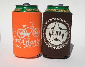East Atlanta Village Beer Cozy- Neon Orange or Chocolate Brown