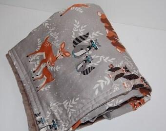 baby blanket- hello bear gray and minky- ready to ship